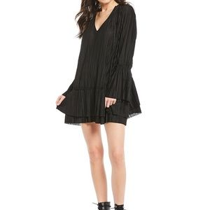 FP Bell Sleeve Pleated V-Neck Ruffle Dress